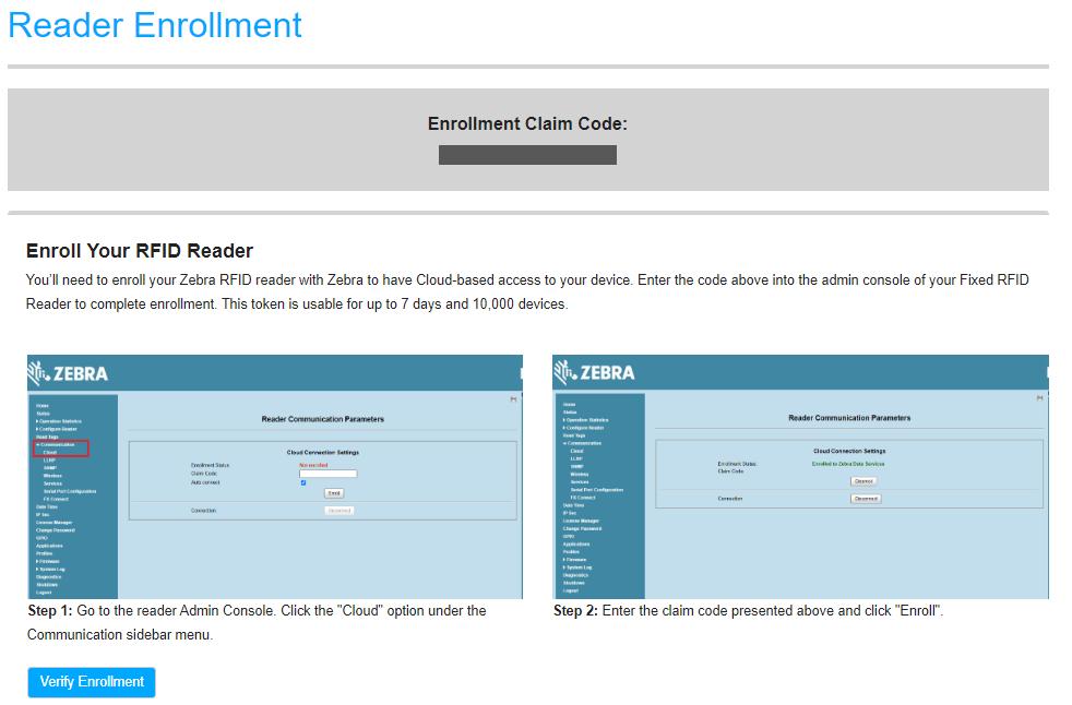 Enrollment Code Page